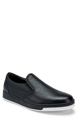 Bugatchi Men's 'Santorini' Slip On Sneaker Nero Leather JWlOe3Y