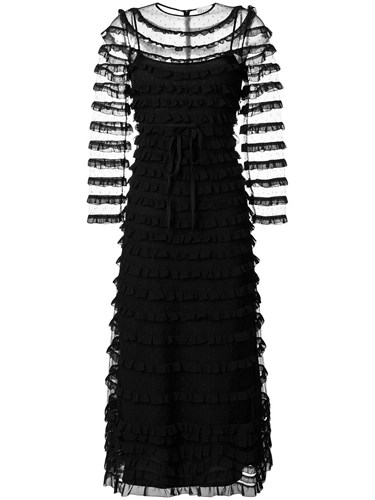 RED Valentino Frilled Embroidered Maxi Dress Black ZCccE5x