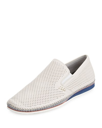 Zanzara Merz Perfoated Leather Slip On Sneaker White GzNhu