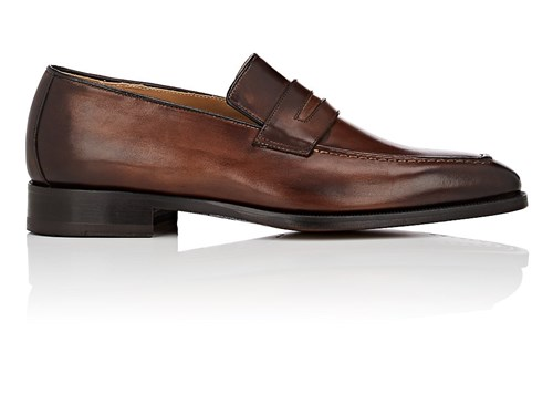 Barneys New York Burnished Leather Penny Loafers Brown mWn8CQ