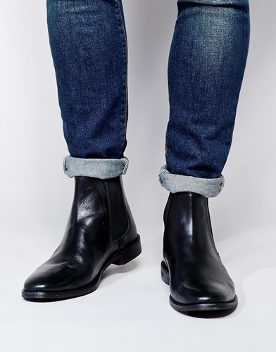 Asos Chelsea Boots In Leather Blackleather O5kcEUcN