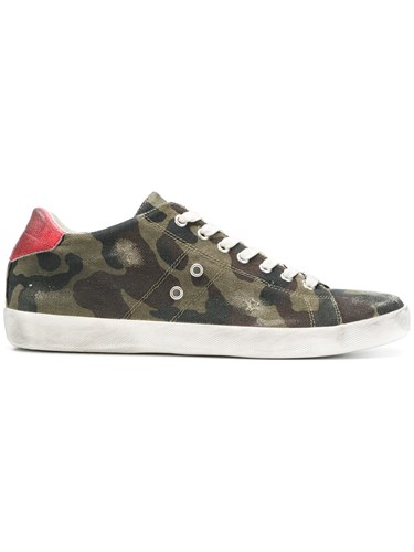 Leather Crown Camouflage Print Sneakers Green iHcCBs5V84