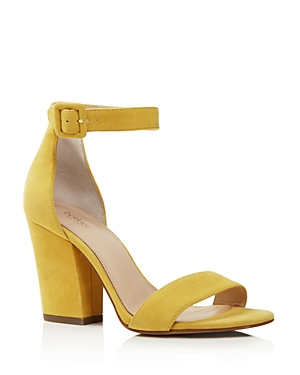Botkier Women's Shana Suede Block Heel Sandals 100 Exclusive Pineapple Yellow JSOx798K3