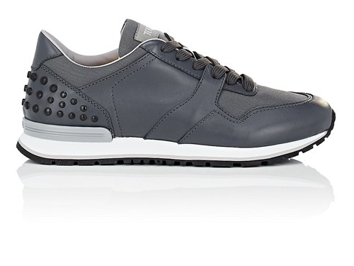 Tod's Pebble Detail Leather And Nylon Sneakers Gray yajBw