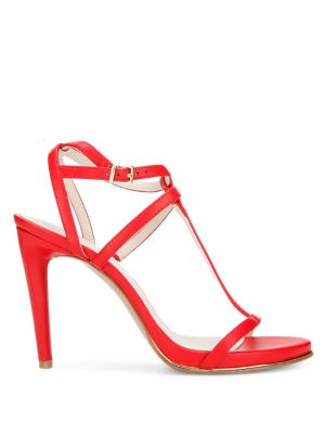 Kenneth Cole Bellamy Leather Stiletto Sandals Red OpNeyqwrUo