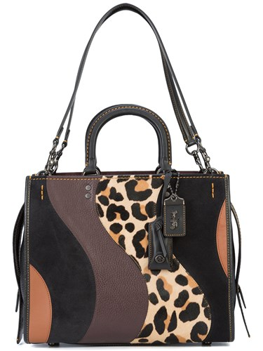 Coach Leopard Patchwork Rogue Tote Brown 23oHJ0