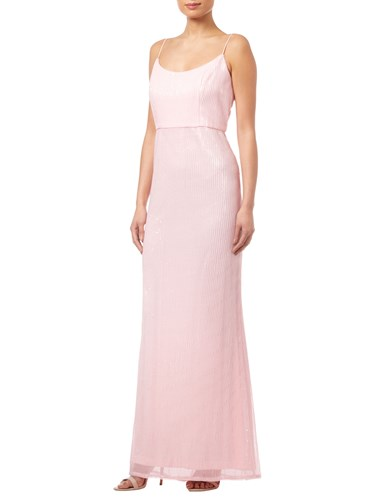 Adrianna Papell Pleated Sequin Dress Satin Blush Yj2UgRZ1