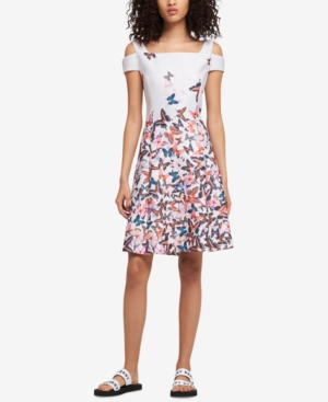 DKNY Cold Shoulder Butterfly Print Dress Created For Macy's Ivory EVz1xXl