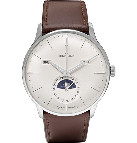 Meister Kalender Stainless Steel And Leather Watch White