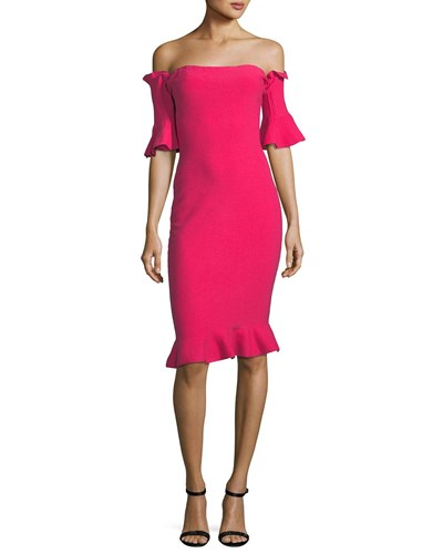 Off Shoulder Sheath Pintuck Dress Guava The Milly 5qgRt1