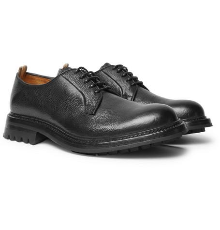 Officine Creative Exeter Pebble Grain Leather Derby Shoes Black 6VoOvZ7A