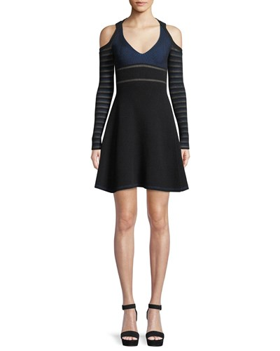 Opening Ceremony Striped Knit Fit And Flare Cold Shoulder Dress Black Pattern 4cavOlUZ2P