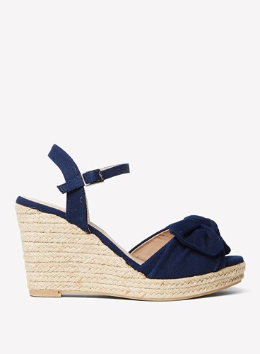 Dorothy Perkins Navy 'Rolo' Bow Wedges Blue MniZ7B6