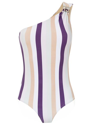 One Shoulder Swimsuit Pink And Purple
