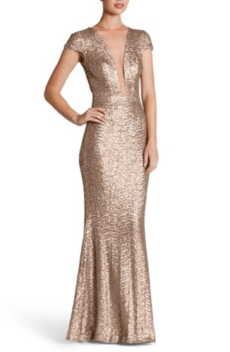 Dress the Population Women's Michelle Sequin Gown Rose Gold o5DBSUa