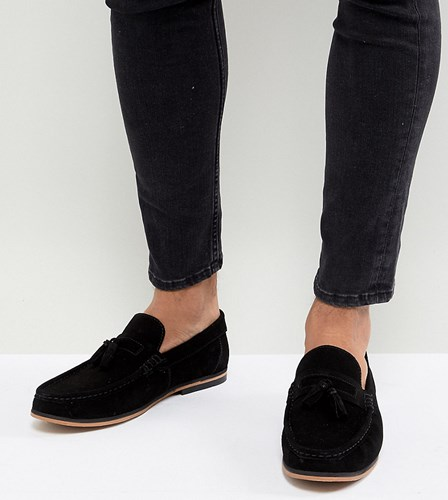 Asos Design Wide Fit Tassel Loafers In Black Suede With Natural Sole F26aL0