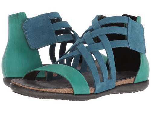 Naot Footwear Marita Pacific Blue Suede Oily Emerald Nubuck Shoes ss9sp52