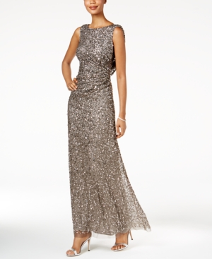 Adrianna Papell Cowl Back Sequined Gown Lead fKE9Z