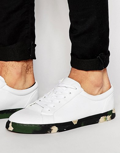 Asos Lace Up Trainers In White With Khaki Camo Sole S6eoZlusH
