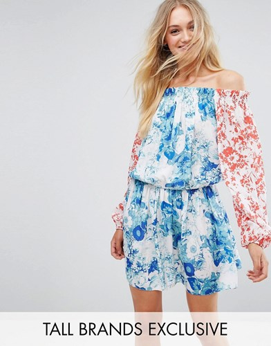 White Cove Tall Allover Mix Match Floral Off Shoulder Mini Dress With Fluted Sleeve Detail Multi iMyYms