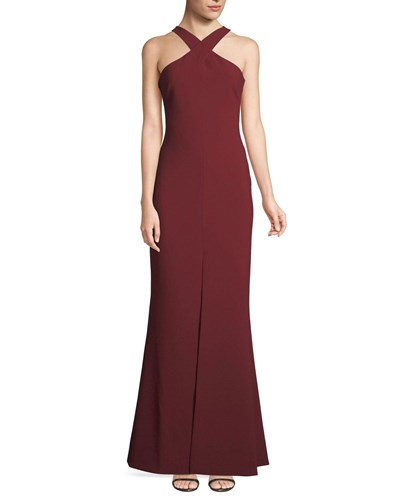 Likely Kingsbury Halter Crepe Trumpet Evening Gown Maroon ryx7aTW