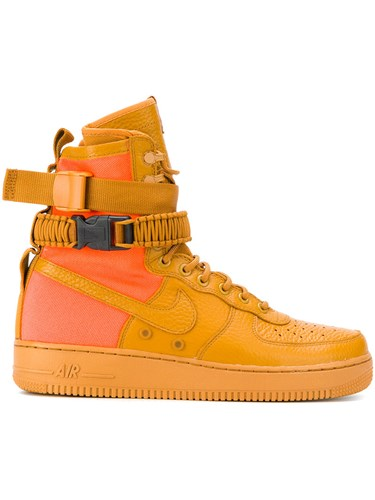 Nike Sf Af1 Sneakers Leather Polyamide Rubber Yellow Orange Ed5A8c8f
