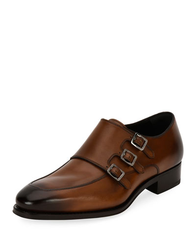 Salvatore Ferragamo Duilio Triple Monk Leather Shoe Brown knTkn