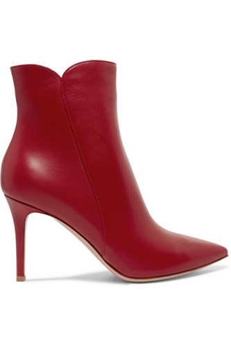 Gianvito Rossi Levy Leather Ankle Boots Red ifFdK