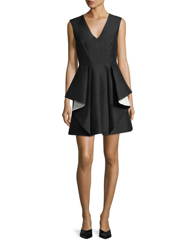 Mini Halston Cream Cocktail Black Contrast Ruffle Dress xww17