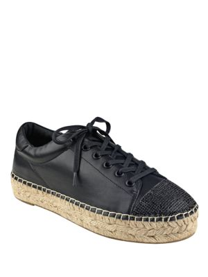Kendall + Kylie Joslyn Leather Espadrille Sneakers Black QfP8h