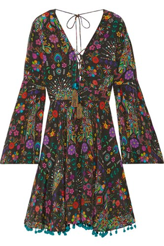 Matthew Williamson Pampas Peacock Pompom Embellished Printed Silk Crepe De Chine Mini Dress Black AVvY43N7G