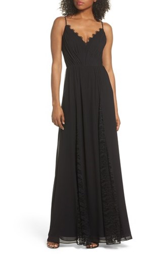 Hayley Paige Occasions Lace And Chiffon Gown Black JLj6znTSw