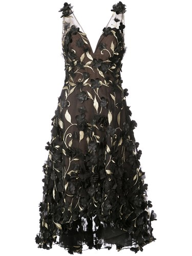 Marchesa Notte Floral Embroidered Dress Nylon Polyester Black 63ZDQy8EZA