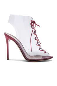 Gianvito Rossi Leather And Plexi Helmut Lace Up Booties In Red 1l6rE