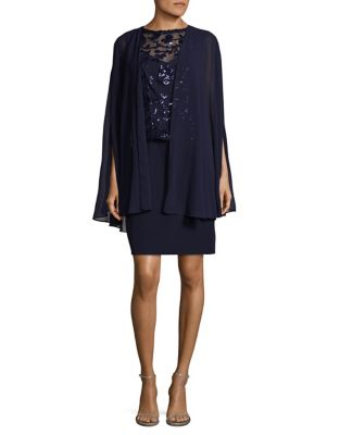 Tahari by Arthur S. Levine Lace Cape Dress Navy uoirkpDtPE
