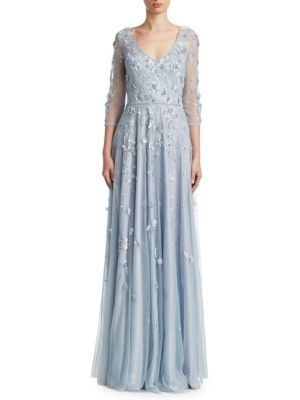 Theia Three Quarter Sleeve Embellish Tulle Gown Sky Blue IRlrT3