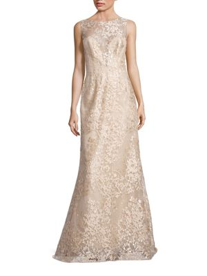 Liancarlo Embroidered Sleeveless Bateau Gown Gold FlpiJJ