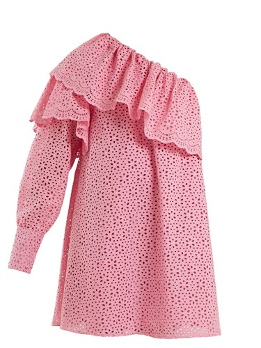 MSGM One Shoulder Broderie Anglaise Cotton Dress Pink GxnVU