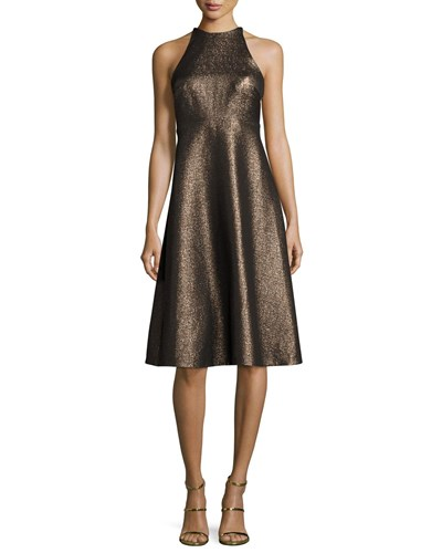 Halston Sleeveless Metallic Halter Jacquard Cocktail Dress Antique Gold zdgQmF6