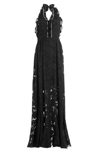 Preen By Thornton Bregazzi Floor Length Ruffled Dress With Crystal Embellishment Black JziW99