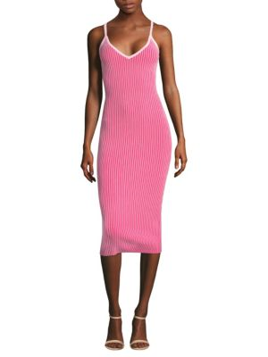 Milly Ribbed Slip Dress Candy Pink Guava GfgB25e4