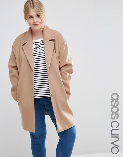 Curve Cocoon Coat Camel Brown