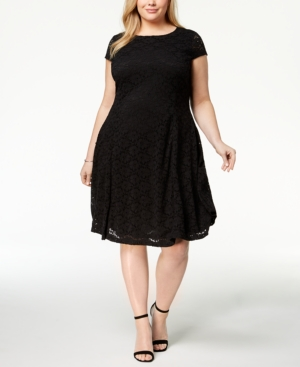 Alfani Plus Size Lace Fit And Flare Dress Created For Macy's Deep Black jvlZO