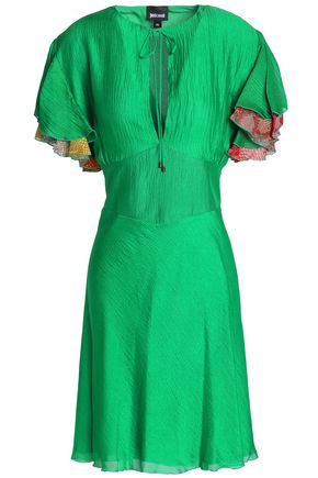 Mini Gauze Just Cavalli Green Printed Silk Dress wItIr