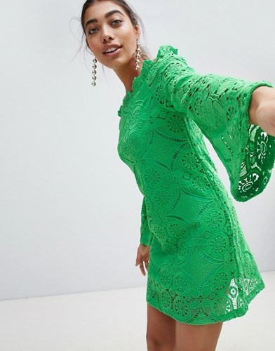 PrettyLittleThing Lace Bell Sleeve Bardot Dress Green aDlfoz05