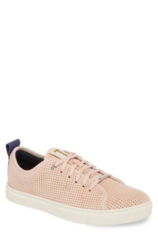 Ted Baker London Kaliix Perforated Low Top Sneaker Light Pink Suede JtlK5XKQJM
