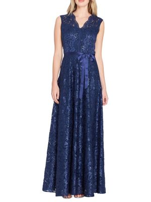 Tahari by Arthur S. Levine Embroidered Lace A Line Gown Navy OFZrOdjfC