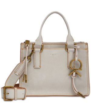 Calvin Klein Brynn Suede Mini Crossbody Light Grey iXgXM