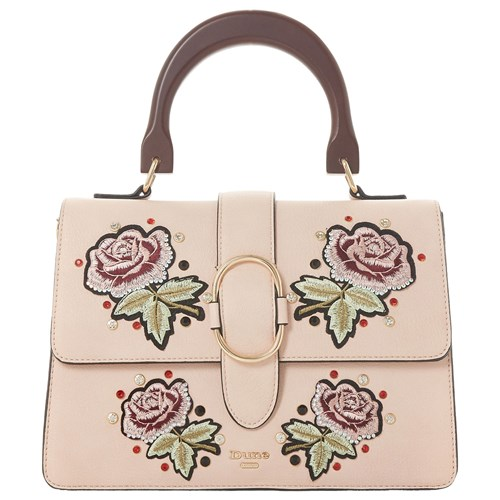 Dune Dex Medium Embroidered Flowers Grab Bag Blush vapUR2E