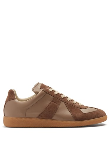 Maison Martin Margiela Replica Suede Panel Low Top Leather Trainers Light Brown GTP2ZNAyV
